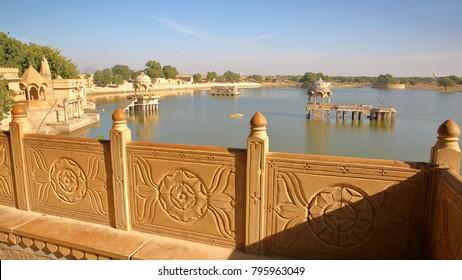 General view of Gadi Sagar lake (with chhatris) from a decorated balcony, Jaisalmer, Rajasthan, India