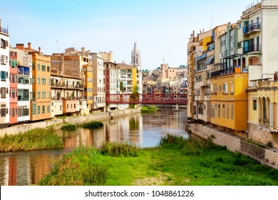 General view of Girona city, Spain