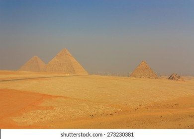 General view of the Giza Pyramids in Cairo. Egypt.