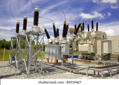 general view to high-voltage substation with switches