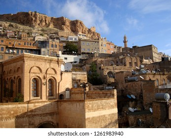 A general view of historical Mardin town in the Syrian border with the Mardin Castle on the background.