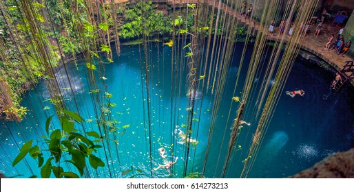 General view of the Ik-Kil cenote near Chichen Itza, Mexico