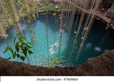 General view of the Ik-Kil cenote near Chichen Itza, Mexico