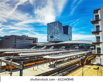 General view of modern city architecture of central station. Utrecht - Holland.