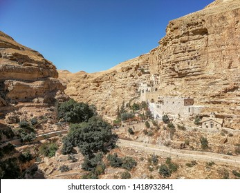 General view of the monastery. St. George Monastery located in Wadi Qelt, in the eastern West Bank,  in Area C of the Palestinian Authority territories.