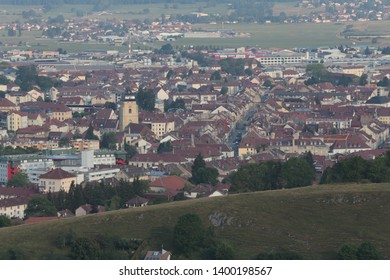 general view from the mountain overlooking the town of Pontarlier, in the Doubs department, France, view of the town centre and its bell tower
