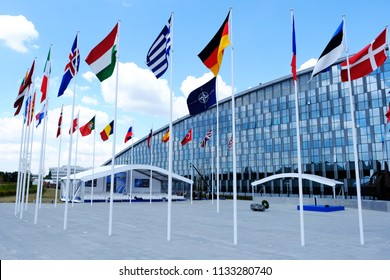 A general view of the NATO official tribune ahead of the opening ceremony of the NATO summit, at the NATO headquarters in Brussels, Belgium, July 11, 2018.