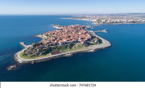 General view of Nessebar, ancient city on the Black Sea coast of Bulgaria. Panoramic aerial view.