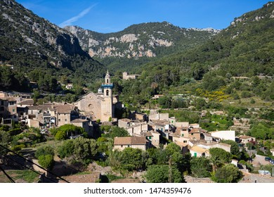 General view of the old town of Valldemossa in the mountains of the Tramuntana, Spain, Majorca