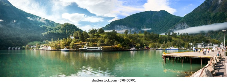General view on the port of Flam, Norway .
