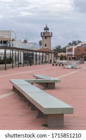 general view of the Plaza in the Grau de Castellón, tourist and leisure area. An extended seat in the foreground, Castellón de la Plana, Spain