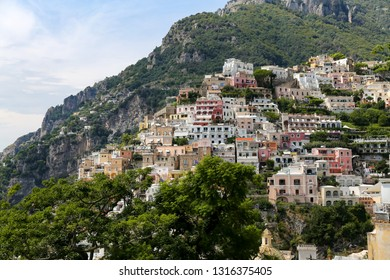 General view of Positano Town in Naples City, Italy