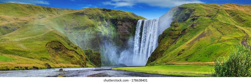 General view of the Seljalandsfoss falls, Iceland. Panorama
