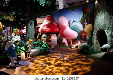 A general view of Smurfs' Village, which was set up to celebrate their 60th birthday in Brussels, Belgium on June 21, 2018