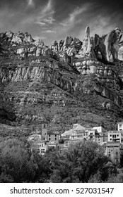 General view of the town of Monistrol de Montserrat. Province of Barcelona, Catalonia. Spain