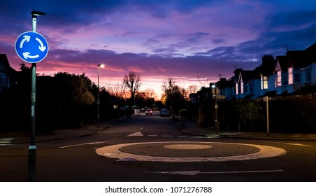 General View of the UK Roundabout, residential area in the evening, houses present
