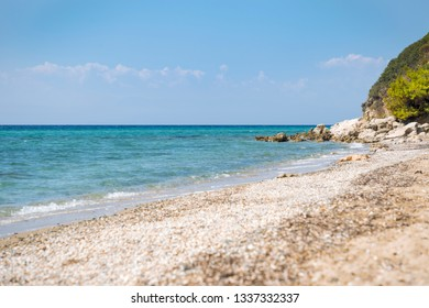 General view of unknown beach in north Greece.