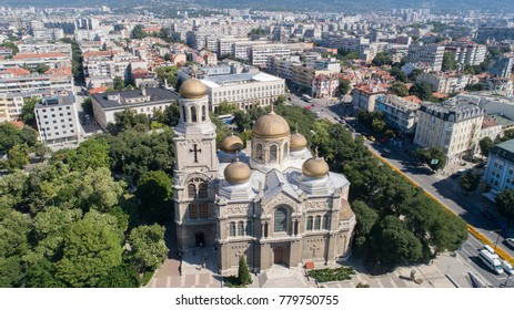 General view of Varna center, the sea capital of Bulgaria.  The Cathedral of the Assumption. Byzantine style church with golden domes