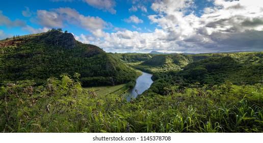 General view of Wailua river Kauai, Hawaii