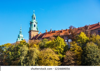 General view of Wawel Castle in sunny day. Residency located in central Kraków, Poland. For centuries residence of kings and the symbol of Polish statehood.