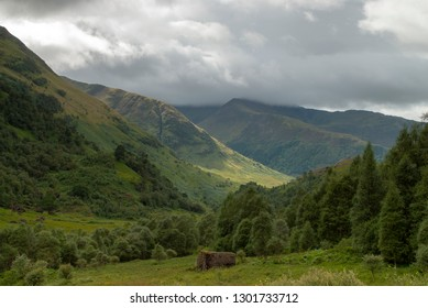General views towards the Mamores near Water of Nevis and Steall Falls from a walk from Polldubh and Achriabhach in the foot hills of Ben Nevis, Highlands, Scotland