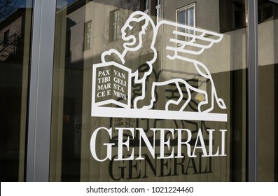 GENERALI, OPAVA, CZECH REPUBLIC / CZECHIA - JANUARY 4, 2018: symbol of insurance company on the window