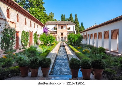 Generalife gardens at Alhambra, Granada, Spain
