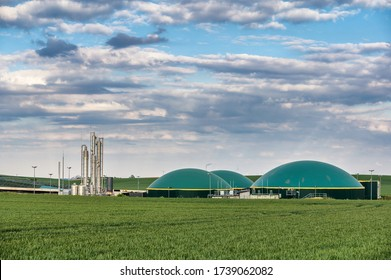 Generation of bioenergy with a biomethane plant under the evening sky