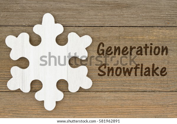 Generation Snowflake message, A retro wood snowflake on weathered wood background with text Generation Snowflake