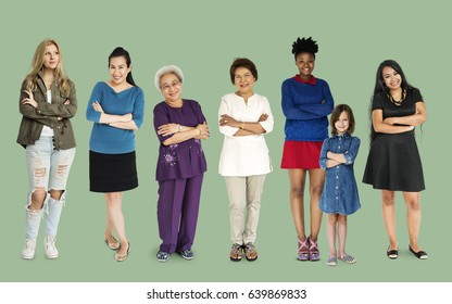 Generations of cheerful ladies standing in a row
