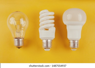 generations of light bulbs from incandescent and halogen bulbs to led bulbs, modern energy-saving technologies and environmental protection