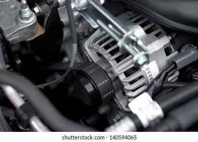 Generator and fan belt in a car engine