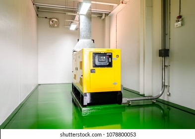 Generator room with  generators in factory standby for power backup, Diesel generator