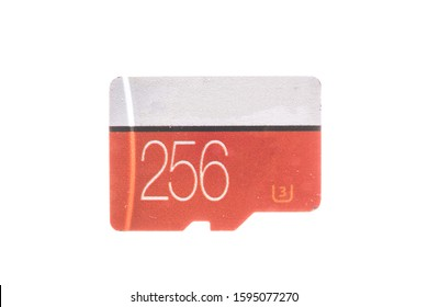 Generic 256GB SD card isolated on white background with capacity printed on it
