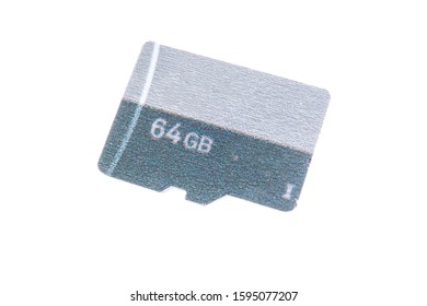 Generic 64GB SD card isolated on white background with capacity printed on it