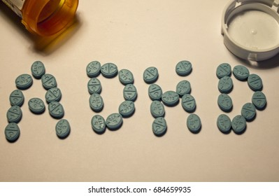 Generic Adderall pills arrange to spell ADHD (Attention Deficit Hyperactivity Disorder)