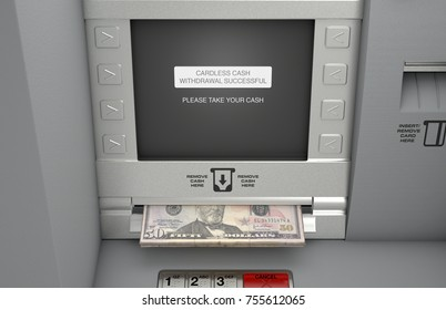 A generic atm facade where the screen indicates that a cardless cash withdrawel has been made and the dollar notes are coming out the cash slot - 3D render
