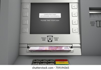 A generic atm facade where the screen indicates that a cardless cash withdrawel has been made and the euro notes are coming out the cash slot - 3D render