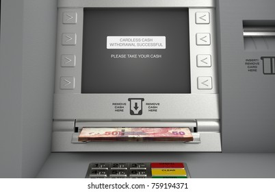 A generic atm facade where the screen indicates that a cardless cash withdrawel has been made and the rand notes are coming out the cash slot - 3D render