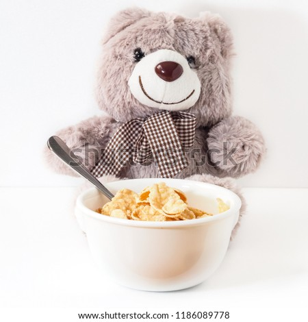 generic bear enjoys bowl cereal stock photo edit now 1186089778