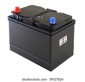Generic black car battery isolated on white