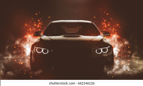 Generic black sports car performing burnout start - conceptual (with grunge overlay) - 3d illustration