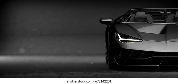 Generic Black Sports Car (with Grunge Overlay), Headlights Detail   3d  Illustration