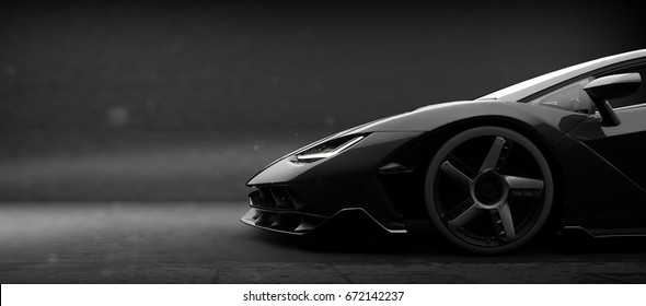 Generic black sports car (with grunge overlay), side view - 3d illustration