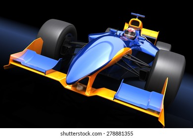 Generic Blue Car On The Black Background Race With No Brand Name Is Designed