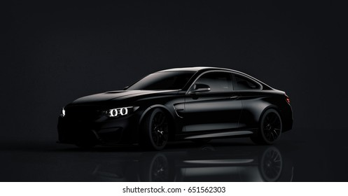 Generic brandless black car - frontal view (with grunge overlay) - 3d illustration