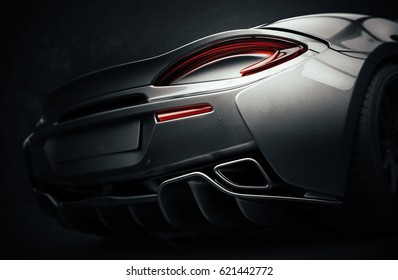 Generic brandless sports car tail lights detail (with grunge overlay) - 3d illustration