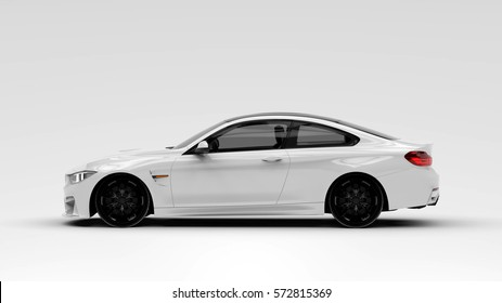 Generic brandless white car - side view (with overlay) - 3d illustration