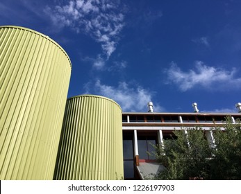 Generic brewery exterior with grain silos