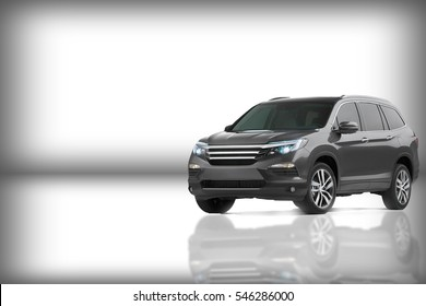 Generic car in white background with reflection